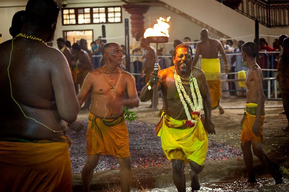 Theemidhi, «Хождение по раскаленным углям». Проходит в Сингапуре. Это фестиваль в честь индуистской богини, по преданию доказавшей свою невинность. Торжество начинается в два часа ночи: процессия идет к храму, где уже разложены тлеющие угли. Мужчины, одетые в традиционные костюмы, снова и снова пересекают опасный «ковер», как будто совсем не чувствуют боли. Впрочем, возможно, так оно и есть, ведь все они находятся в религиозном трансе: даже когда верующие касаются огня, их движения не убыстряются, а лица совершенно спокойны.
