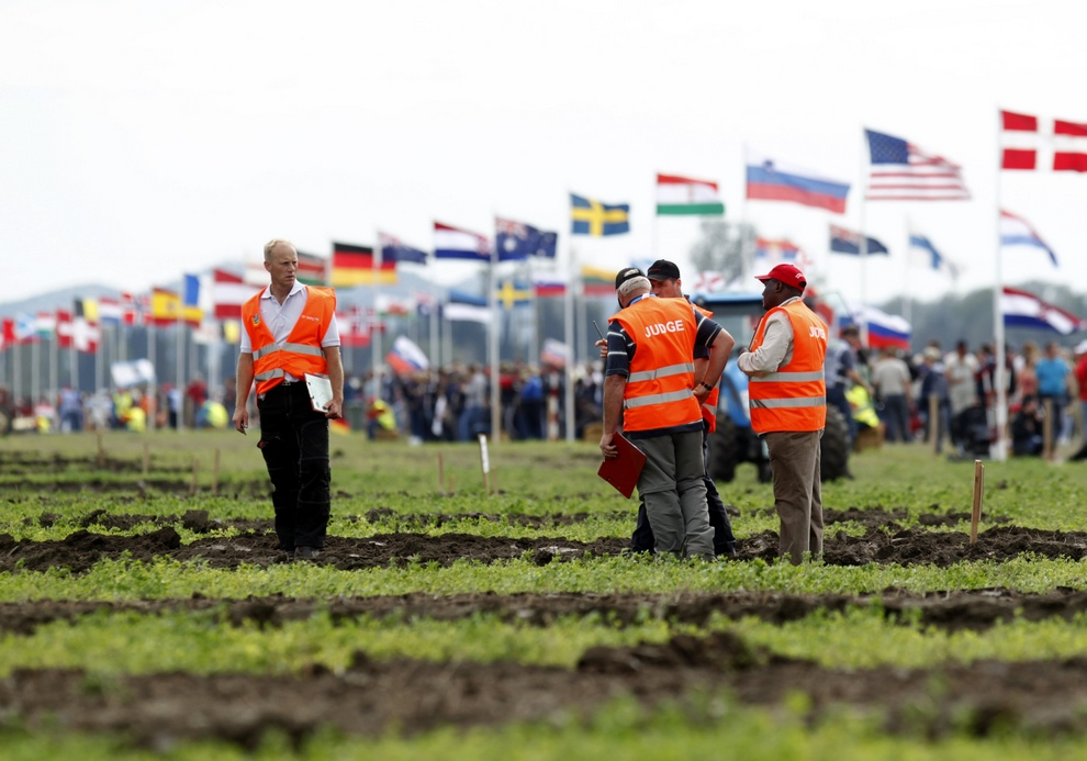 Judges inspect ploughing tracks during World Ploughing Championship in Vrana