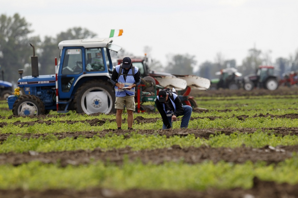Judges inspect ploughing tracks during the World Ploughing Championship in Vrana