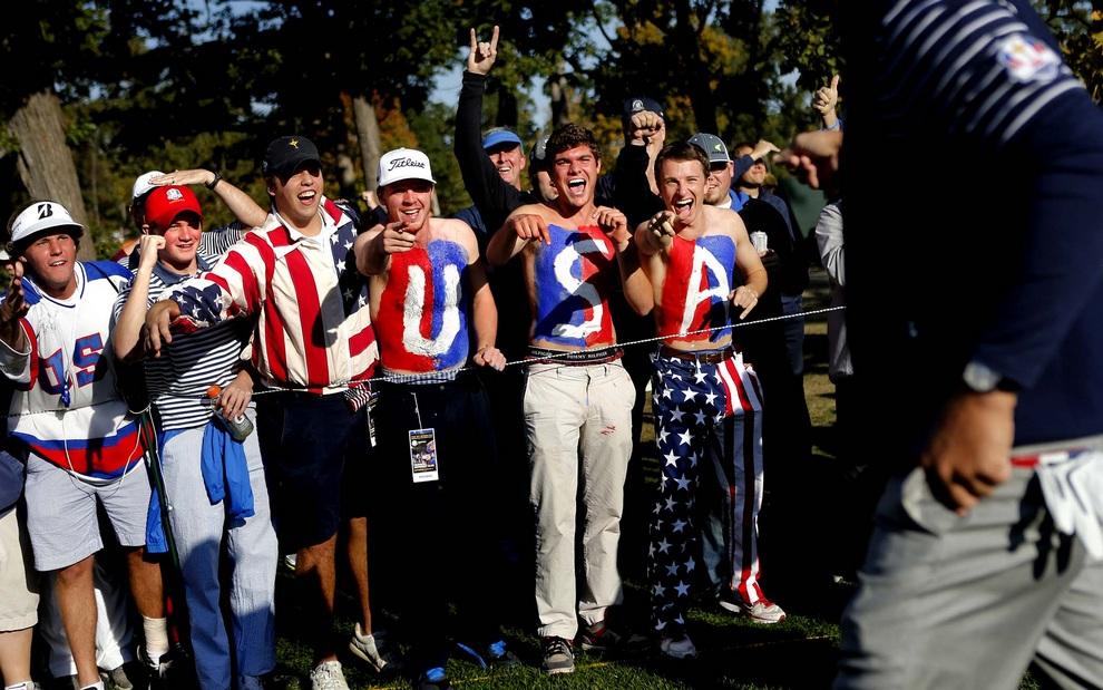 Радостные американские фанаты, 29 сентября 2012 года. Кубок Райдера, Медина, штат Иллинойс, США.