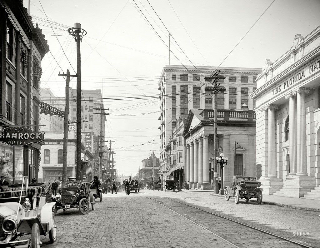 Форсайт-стрит, Джексонвилль, штат Флорида, 1910 год.