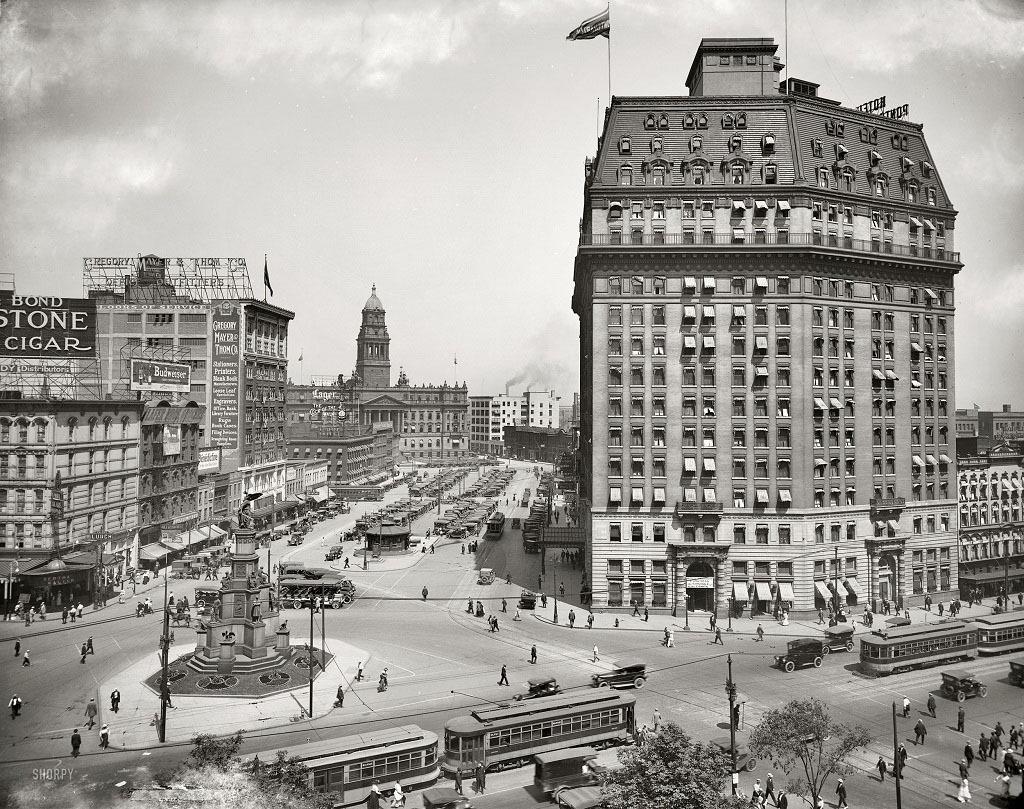 Площадь Кадиллак, Детройт, штат Мичиган, 1916 год.