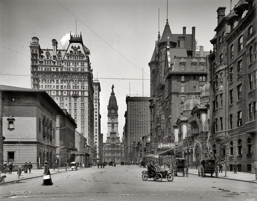 Броуд-стрит к северу от Спрус-стрит, Филадельфия, 1905 год.