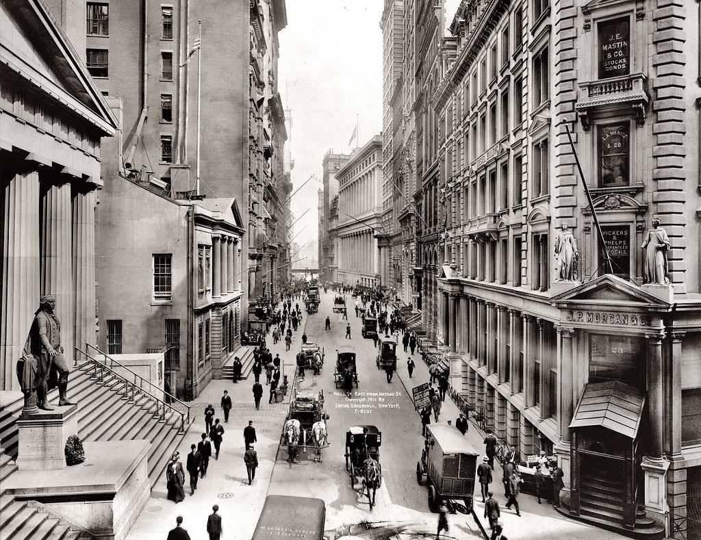 Уолл-стрит, Нью-Йорк, 1911 год.