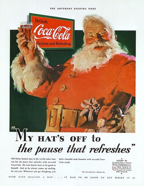 1931 Компания Coca Cola заказала американскому художнику Хаддону Сундблому дизайн красно-белого костюма для Санта-Клауса. До этого Санта-Клаус одевался  в одежду разных цветов и оттенков.
