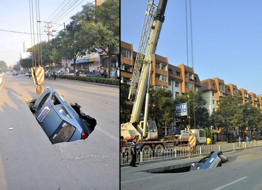 В августе в 2012 оду в дыру на дороге провалилось такси.