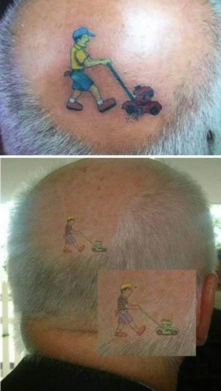 татуировка на лысине
