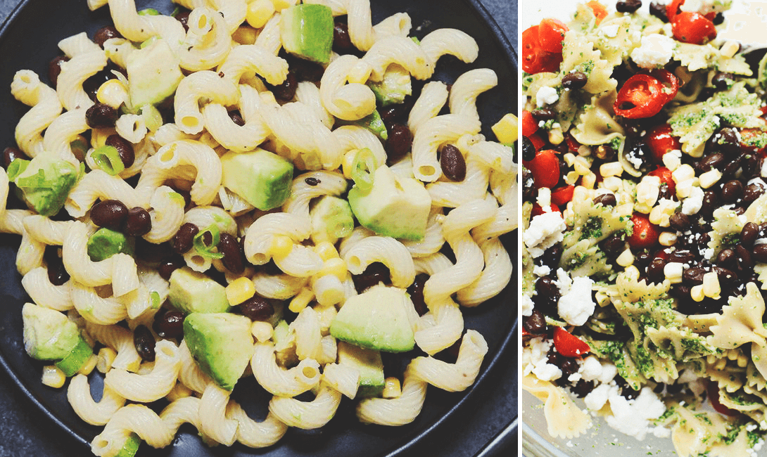 Макароны с авокадо и черной фасолью