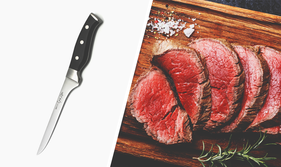 Обвалочный нож для обвалки мяса - срезания филейной части с костей.